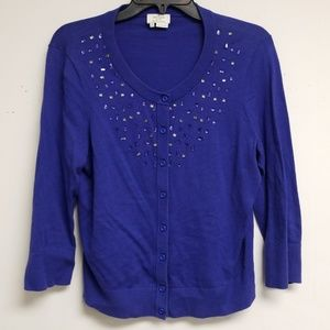 Kate Spade Blue Beaded Button Cardigan Size L